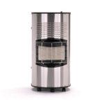 Dieser kompakte Infrarot-Ofen bietet exklusives Design bei bester Funktionalität. Das Gehäuse ist sehr sauber verarbeitet. Die Front sowie die rückseitige Türe bestehen aus gebürstetem Edelstahl, Top und Boden sind schwarz pulverbeschichtet. Das Gerät verfügt über wichtige Sicherheitseinrichtungen. Zum einen die thermoelektrische Zündsicherung sowie eine Sauerstoff-Mangelsicherung. Die Heizleistung ist 3-stufig regelbar, von 1,4-4,2kW, mit einem sparsamen Maximalverbrauch von 310g/h. Sowohl 5kg als auch 11 kg Gasflaschen lassen sich sicher unterbringen. Die Beladung erfolgt bequem über eine große Türe auf der Rückseite. Standsicherheit und Mobilität wird durch 5 Lenkrollen gewährleistet. Der Gasschlauch ist im Lieferumfang enthalten.